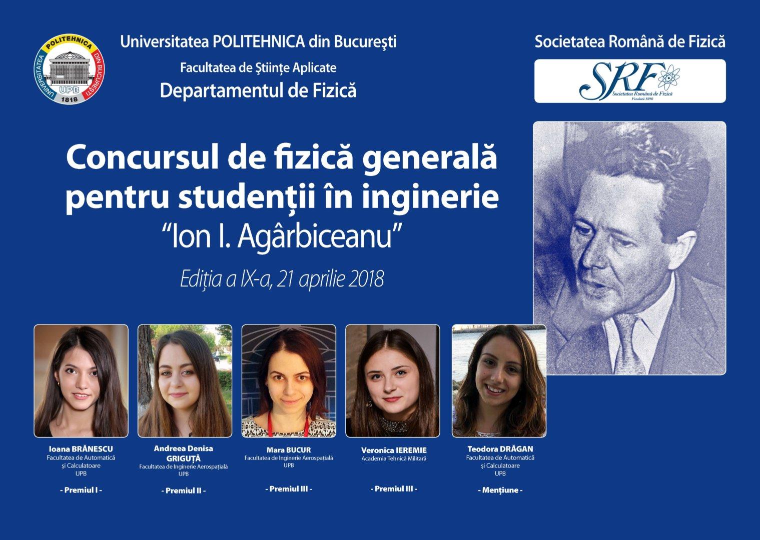 """Felicitări studenților UPB, câștigători ai ediției a IX-a a Concursului de fizică generală """"Ion I. Agârbiceanu"""""""