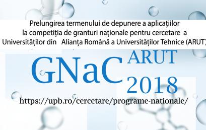 Prelungirea termenului de depunere a aplicatiilor la competiția de granturi naționale pentru cercetare a universităților din ARUT