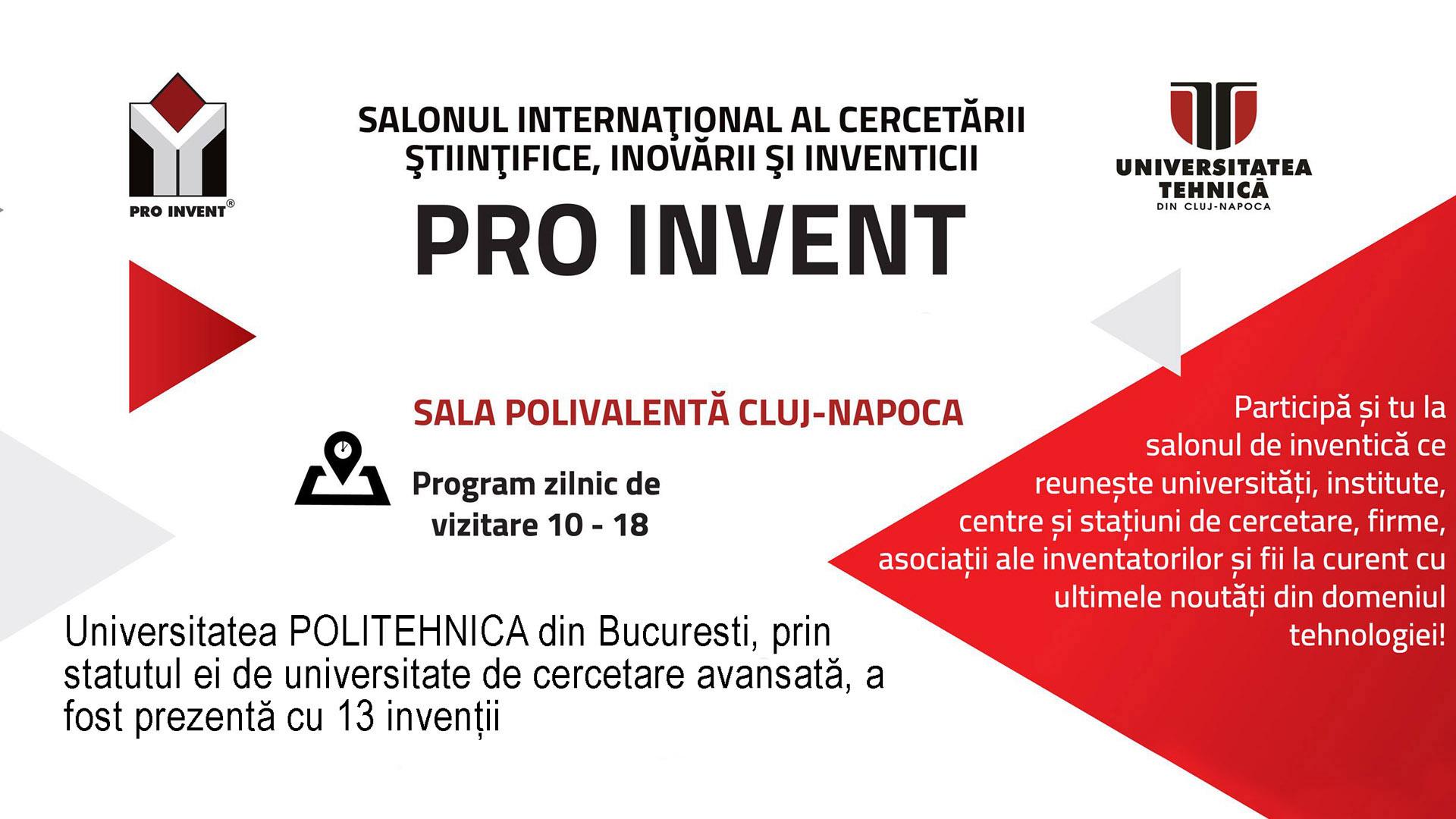 Universitatea POLITEHNICA din Bucuresti a fost prezentă cu 13 invenții la PRO INVENT