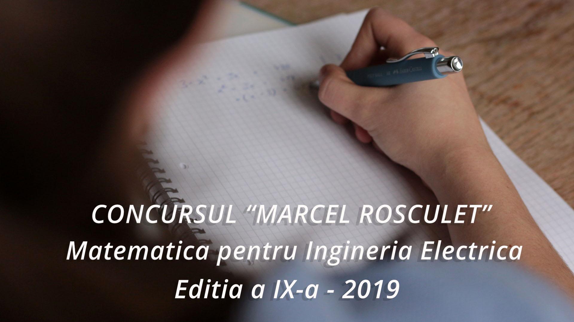 "CONCURSUL ""MARCEL ROSCULET"" Matematica pentru Ingineria Electrica"