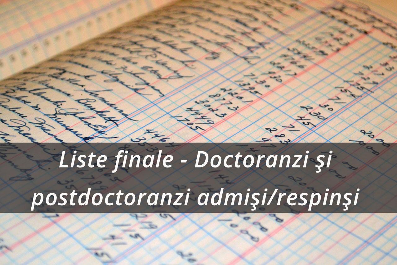 Liste finale – Doctoranzi si postdoctoranzi admisi/respinsi – SIMBA/A-succes/BeAntreprenor