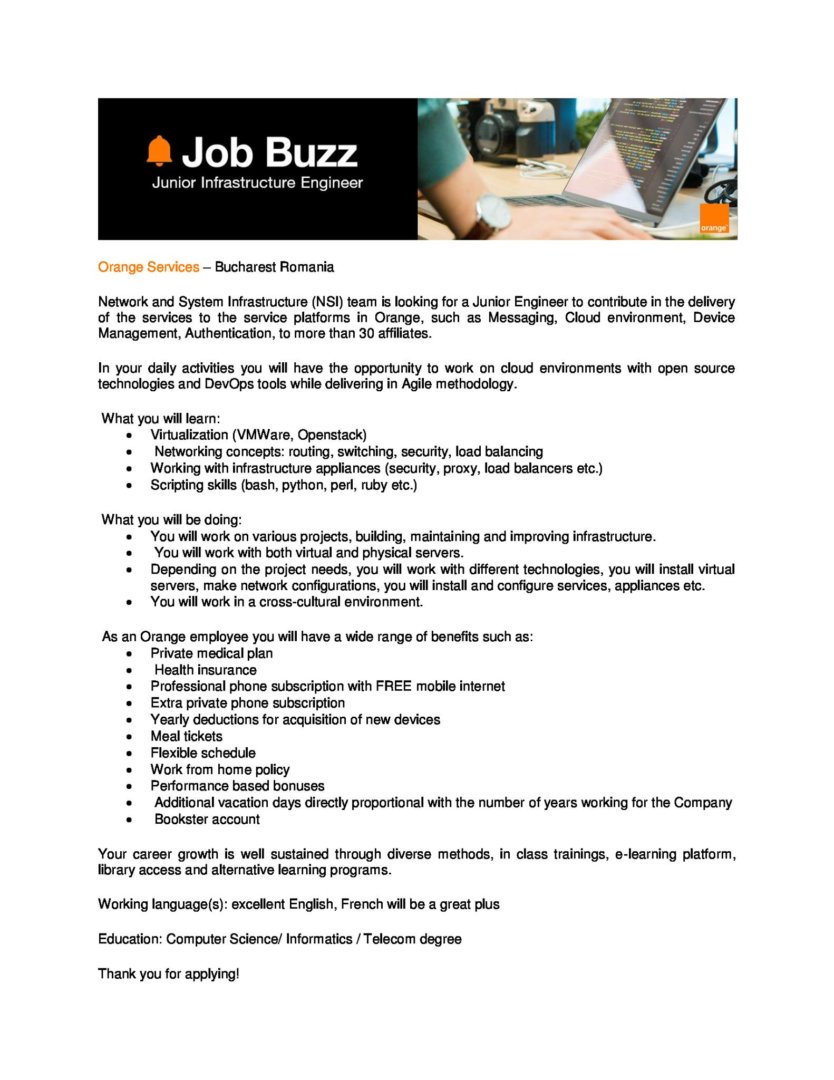 orange upb Junior Infrastructure Engineer