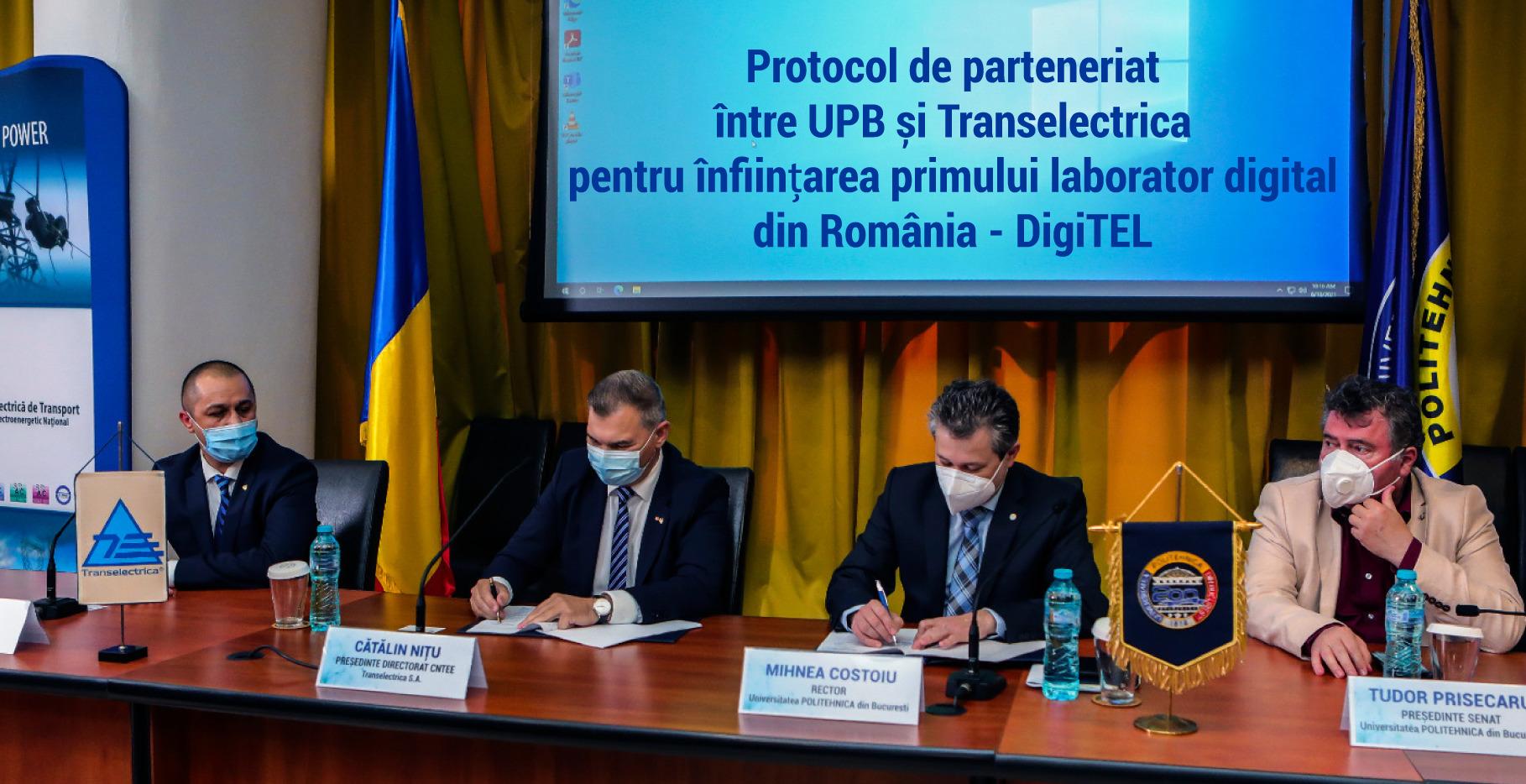 Protocol de parteneriat  între UPB și Transelectrica pentru înființarea primului laborator digital din România – DigiTEL