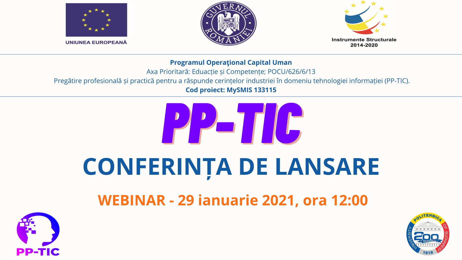 WEBINAR PRILEJUIT DE LANSAREA PROIECTULUI EUROPEAN PP-TIC