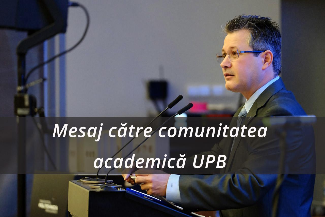 Mesaj catre comunitatea academica UPB