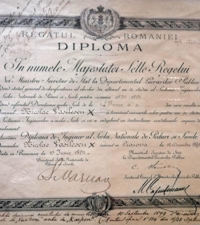 UPB Exponatul lunii iulie Diploma de inginer a lui Nicolae Vasilescu Karpen, eliberată de Școala Națională de Poduri și Șosele la 19 iunie 1891